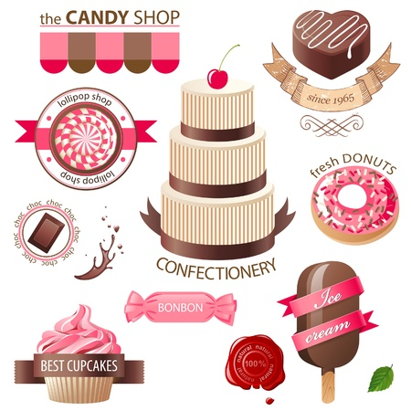bonbons: Colorful sweets and candies emblems