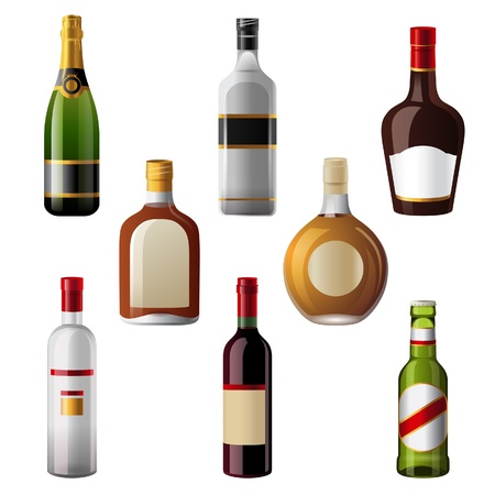 8 shiny alcohol drinks icons Stock Vector - 20422861