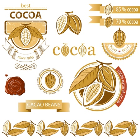 Cocoa beans icons and emblems Vector