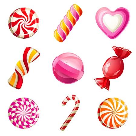 Słodycze i cukierki zestaw ikon Ilustracje wektorowe