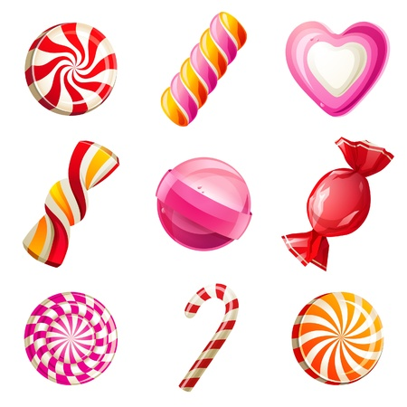snoepjes: Snoep en snoepjes iconen set Stock Illustratie
