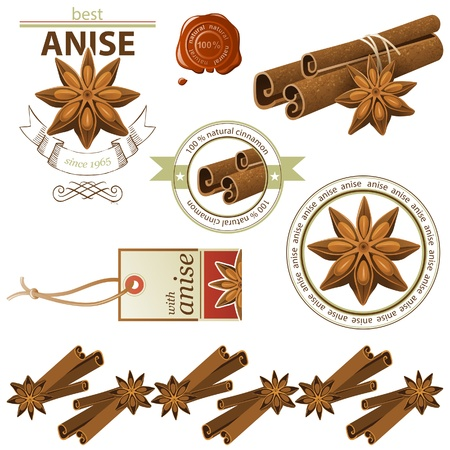 Anise stars and cinnamon sticks set Stock Vector - 20422905
