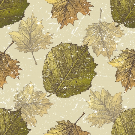 guelder rose: Hand drawn seamless ornament with autumn leaves Illustration