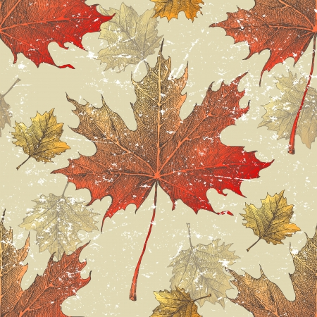 guelder rose: Hand drawn maple and viburnum leaves seamless