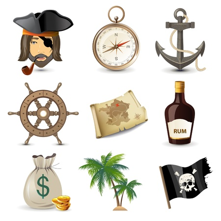 island cartoon: 9 highly detailed pirate icons  Illustration