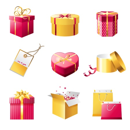 closed box: Set of bright present boxes