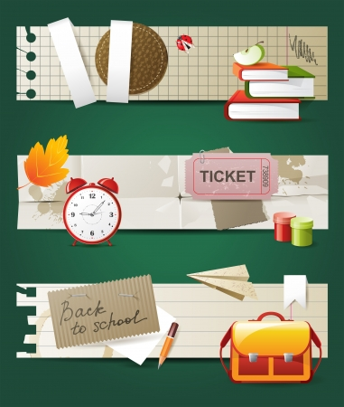 3 back to school banners Vector