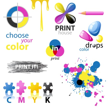 printer drawing: CMYK design elements and emblems