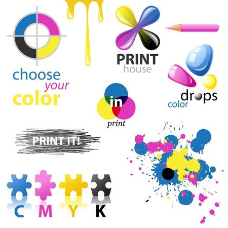 imprenta: Elementos de dise�o de CMYK y emblemas Vectores
