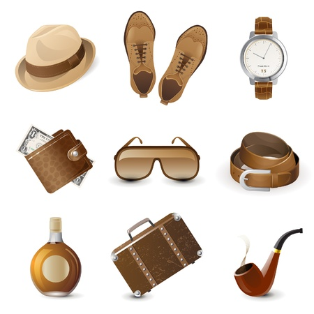 9 highly detailed men accessories icons Illustration