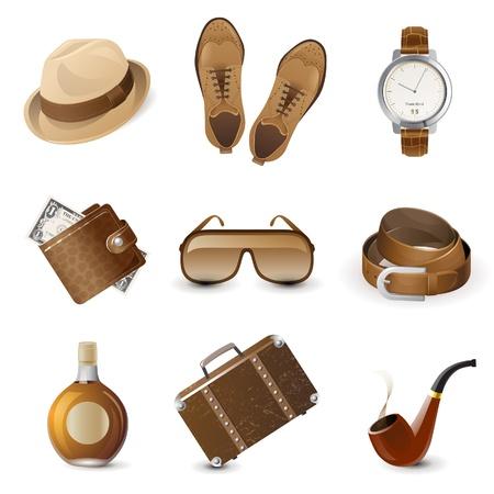 9 zeer gedetailleerde heren accessoires iconen Stock Illustratie