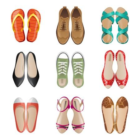 Set van 9 vrouw schoenen iconen