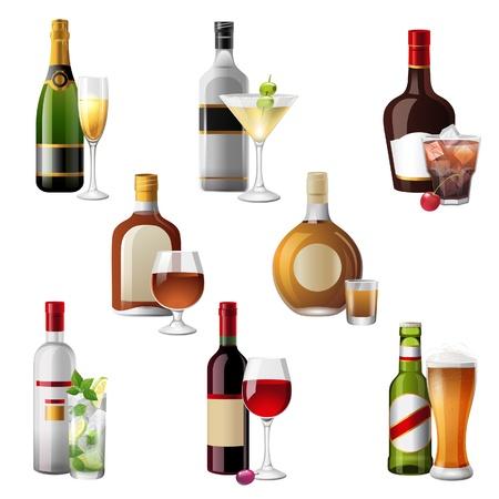 bouteille champagne: 8 icônes très détaillées des boissons alcoolisées et des cocktails Illustration