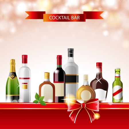 bourbon whisky: Bright cocktail bar background with alcohol bottles