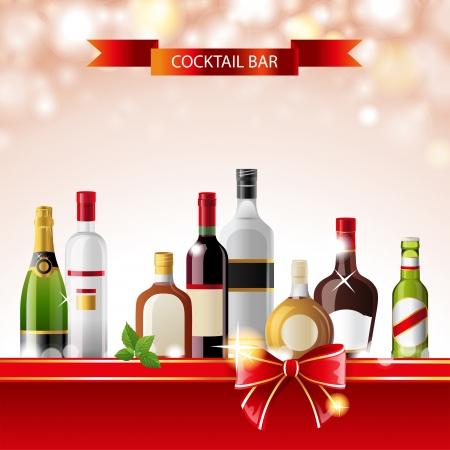 liqueur labels: Bright cocktail bar background with alcohol bottles