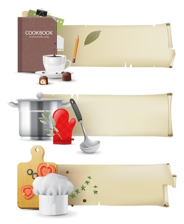kitchen illustration: 3 highly detailed cooking banners in retro style