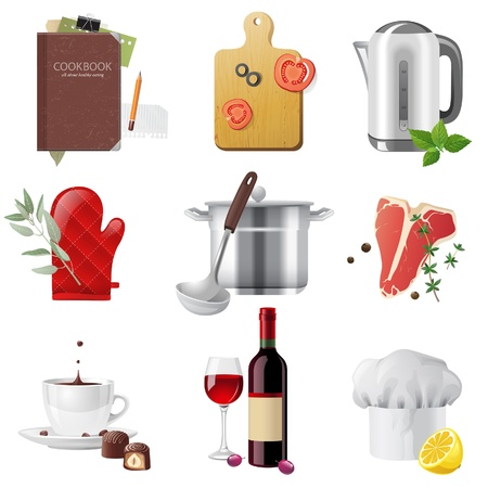stainless steel kitchen: 9 highly detailed cooking icons set Illustration