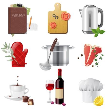 ustensiles de cuisine: 9 ic�nes de cuisson tr�s d�taill�es d�finies Illustration