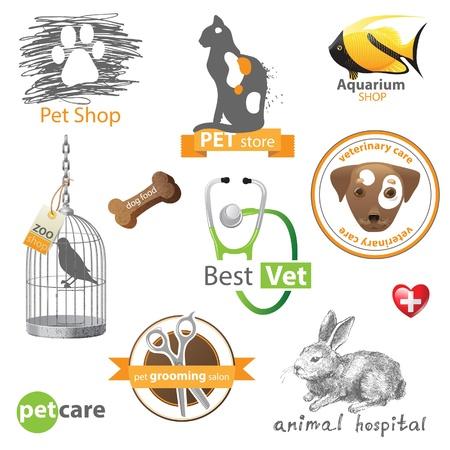 Huisdieren pictogrammen en ontwerpelementen