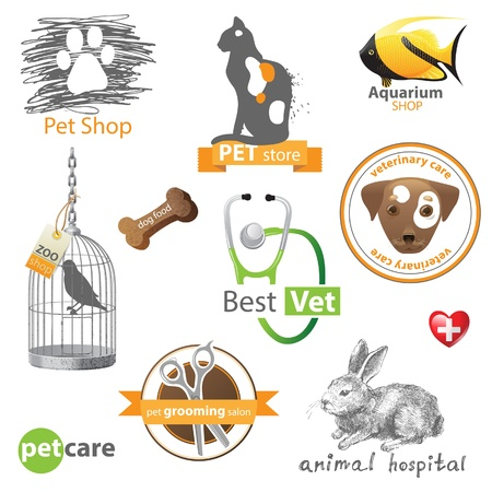 veterinary sign: Pets icons and design elements Illustration