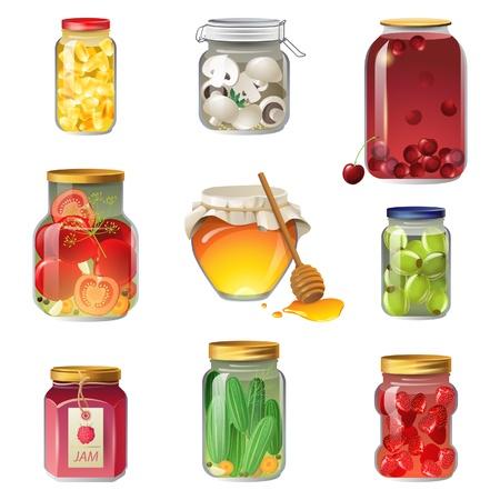 9 ingeblikte groenten en fruit iconen Vector Illustratie