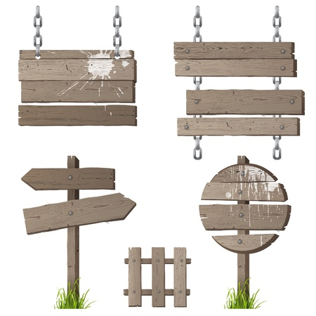 Retro - styled wooden signs over white background
