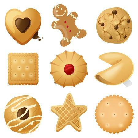 9 hochdetaillierte Cookies Symbolen Standard-Bild - 21377518
