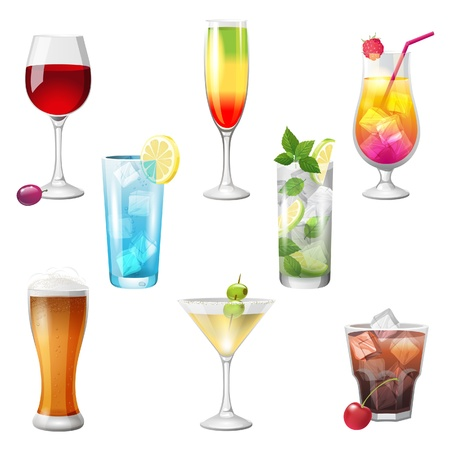 8 highly detailed cocktails icons Stock Vector - 21377521