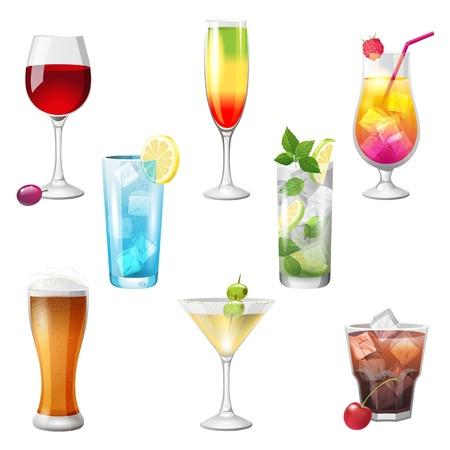 8 zeer gedetailleerde cocktails pictogrammen