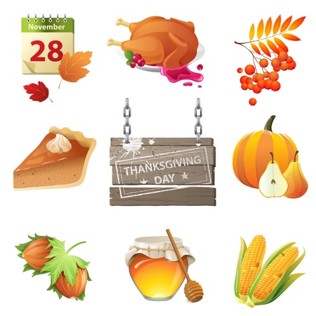 9 highly detailed thanksgiving day icons Stock Vector - 21377523