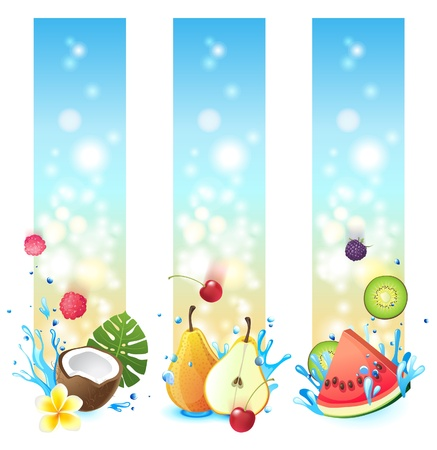 3 vertical banners with fruits in splashes Vector