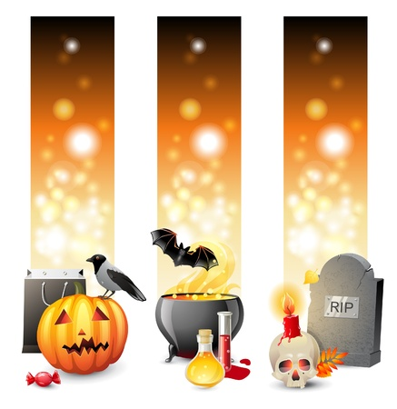 3 bright Halloween banners with place for text Stock Vector - 21636920