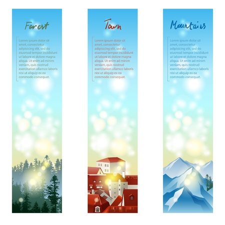 3 vertical banners with different types of landscape Vector