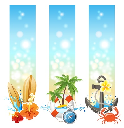 tree vertical: 2 bright vertical travelling banners Illustration