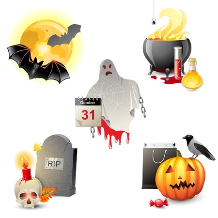 5 highly detailed Halloween icons Stock Vector - 21636923