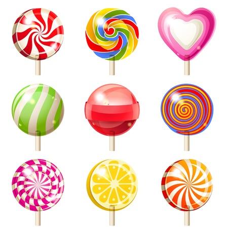 paletas de caramelo: 9 iconos brillantes piruletas sobre fondo blanco