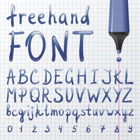 Shiny hand drawn font over paper background Vector