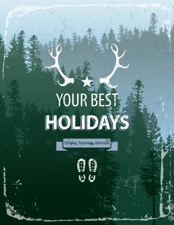 coniferous forest: Cartel de estilo retro con paisaje de bosque de con�feras