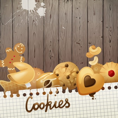 fortune cookie: Bright creative background with cookies Illustration