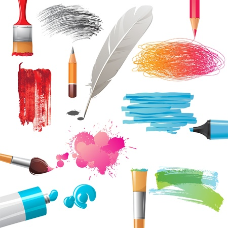 colours tints: Drawing tools and bright colorful banners painted by them Illustration