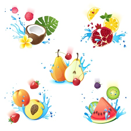 Fresh juicy fruits falling in water splashes Vector