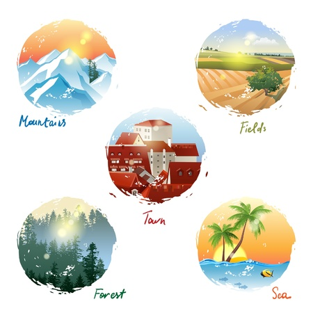 5 different landscape types - mountains, fields, town, forest and sea Vector