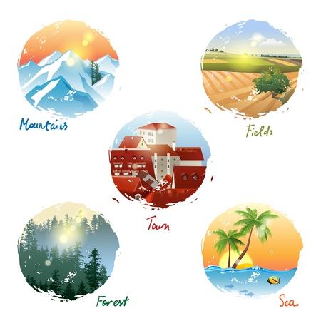 coniferous forest: 5 tipos diferentes de paisaje - montañas, campos, ciudad, bosque y el mar