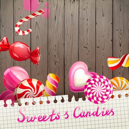 caramel candy: Bright creative background with sweets and candies Illustration