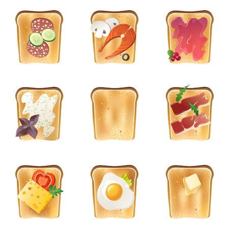ham and cheese: 9 highly detailed toasts icons