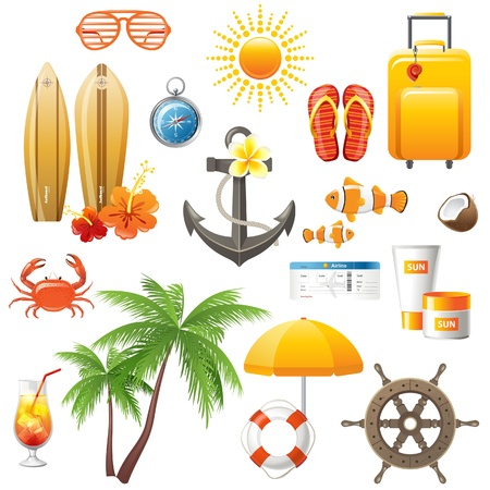 Travelling icons set Vector