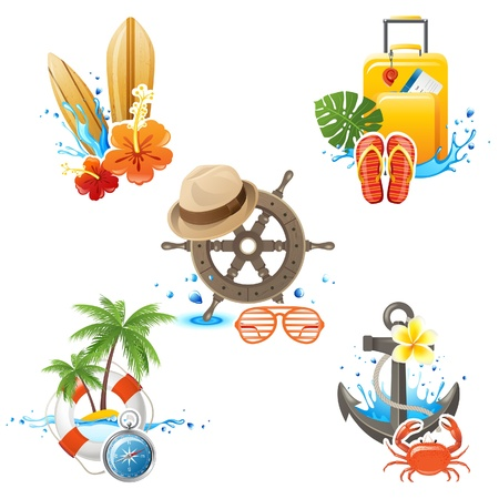 5 highly detailed travelling icons Vector