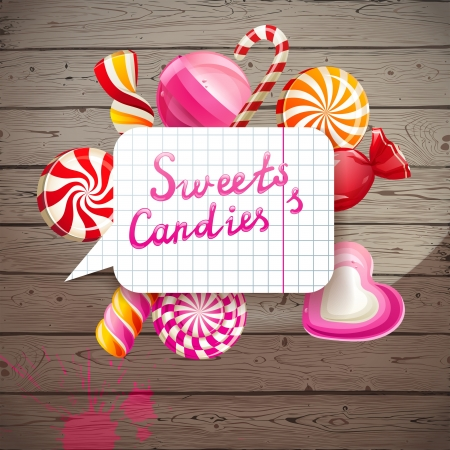 Bright creative background with sweets and candies Vector