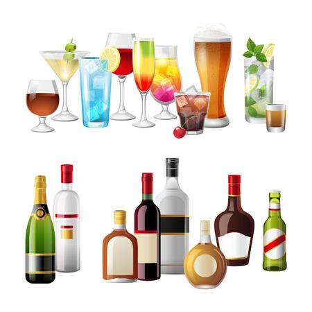 botella de licor: 2 fronteras altamente detallados con las bebidas alcohólicas Vectores