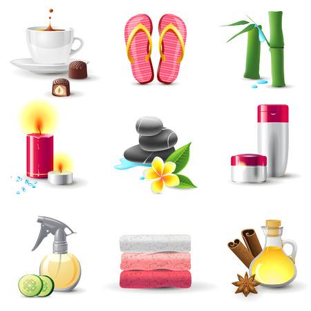 rock salt: Bright highly detailed spa icons set Illustration